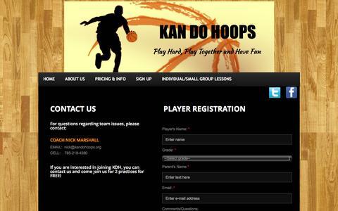 Screenshot of Signup Page kandohoops.org - Contact Us - captured Jan. 9, 2016