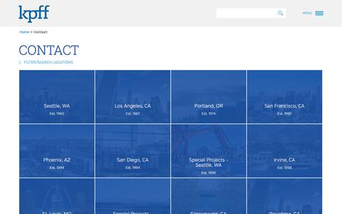 Screenshot of Contact Page Locations Page kpff.com - Locations - captured Feb. 12, 2016