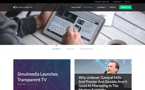 Screenshot of Press Page simulmedia.com - Latest News | Simulmedia | Advanced TV Advertising - captured July 1, 2018