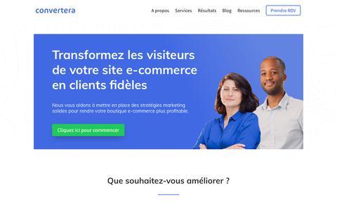 Screenshot of Home Page convertera.co - Convertera - Spécialistes du marketing site e-commerce - captured Nov. 5, 2018