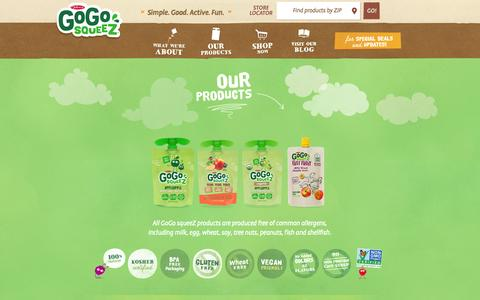 Screenshot of Products Page gogosqueez.com - Products | Healthy Snacks for Kids from GoGo squeeZ - captured Oct. 27, 2014