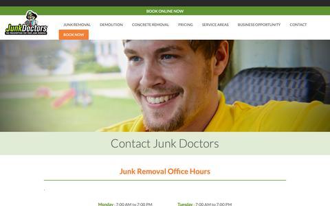 Screenshot of Contact Page junkdrs.com - Contact Junk Doctors | Junk Removal Services | Junk Doctors - captured March 23, 2019