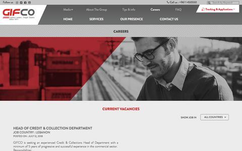 Screenshot of Jobs Page gifco.com - Careers – GIFCO - captured July 18, 2018