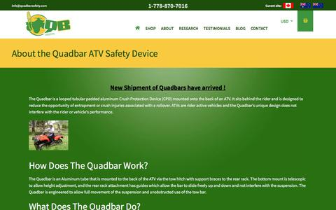 Screenshot of About Page quadbarsafety.com - About the Quadbar ATV Safety Device | Quadbar Safety - captured July 18, 2018