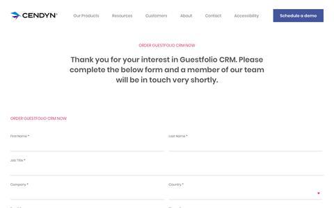 Screenshot of Pricing Page cendyn.com - Order Guestfolio CRM now - Cendyn - captured Jan. 6, 2020