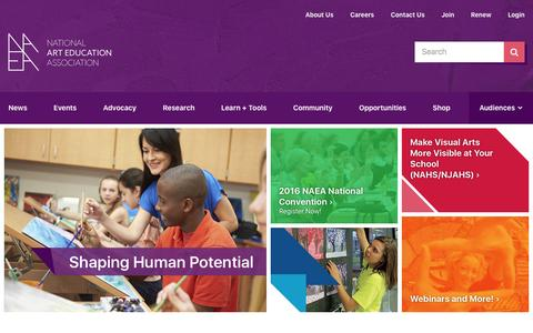 Screenshot of Home Page arteducators.org - National Art Education Association - captured Feb. 22, 2016