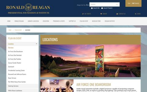 Screenshot of Locations Page reaganfoundation.org - Locations | The Ronald Reagan Presidential Foundation & Institute - captured Nov. 17, 2016