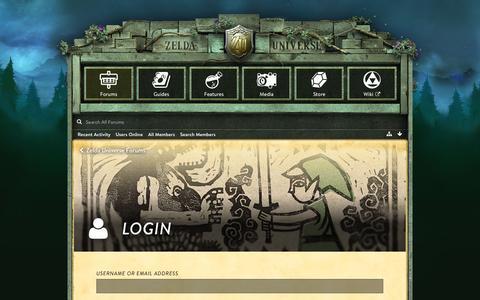 Screenshot of Login Page zeldauniverse.net - Login - Zelda Universe Forums - captured Nov. 13, 2016
