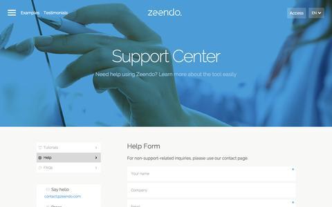Screenshot of Support Page zeendo.com - Zeendo - captured Aug. 4, 2015