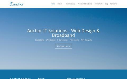 Screenshot of Home Page anchorwifi.com - Anchor IT Solutions - Web Design & Broadband Blackpool - captured Oct. 4, 2014
