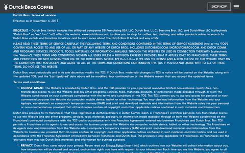 Screenshot of Terms Page dutchbros.com - Dutch Bros | Dutch Bros. Terms of Service - captured Nov. 24, 2017