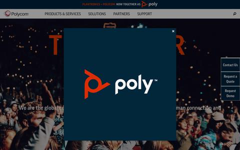 Screenshot of Home Page polycom.com - Video Conferencing & Collaboration Software   Polycom - VoIP Phone, Video Conference & Telepresence Technology - captured March 20, 2019