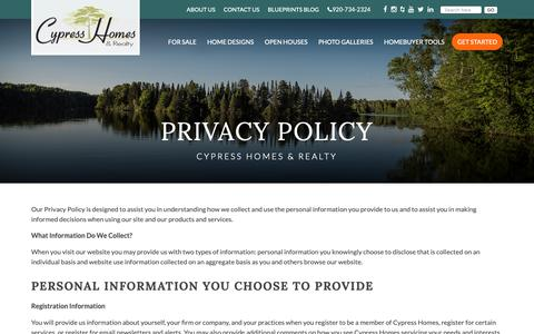 Screenshot of Privacy Page callcypresshomes.com - Privacy Policy  Cypress Homes - captured Sept. 30, 2018