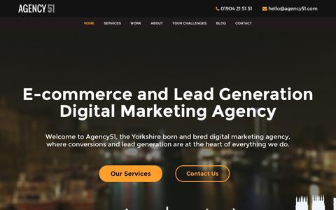 Screenshot of Home Page agency51.com - Agency51 - Digital Marketing Agency - SEO - PPC - Email - captured Nov. 20, 2016