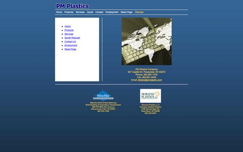 Screenshot of Site Map Page pmplastic.com - Contact PM Plastics in Wisconsin | Direct Manufacturing Injection Molding | Purchase Displays | Merchandising Systems - captured Jan. 22, 2016