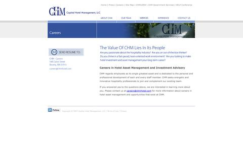Screenshot of Jobs Page chmhotel.com - Careers in hotel asset management and investment advisory with CHM - captured Oct. 1, 2014
