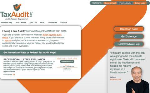 Screenshot of Signup Page taxaudit.com - Facing a Tax Audit? Expert Tax Audit Representation from TaxAudit.com - captured Dec. 3, 2016