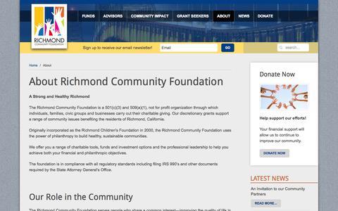 Screenshot of About Page richmondcf.org - Richmond Community Foundation - About Nonprofit Organization Bay Area - captured Oct. 7, 2014