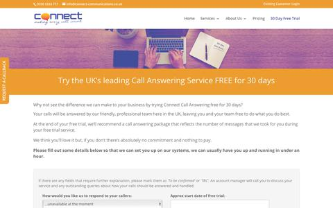 Screenshot of Trial Page connect-communications.co.uk - 30 day free trial of our UK based call answering service | Apply online - captured Sept. 29, 2018