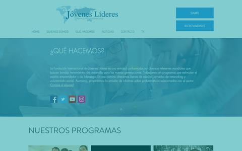 Screenshot of Home Page joveneslideres.org - Fundación internacional de Jóvenes Líderes - captured Dec. 19, 2018