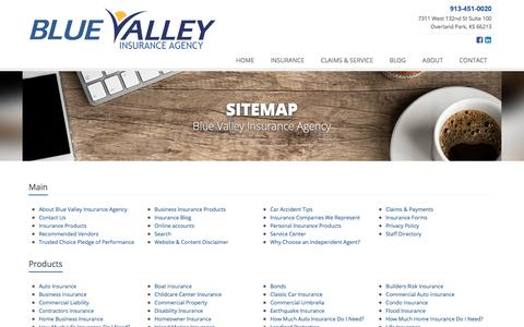 Screenshot of Site Map Page bvia.com - Insurance Website Sitemap | Blue Valley Insurance Agency - captured Oct. 10, 2017