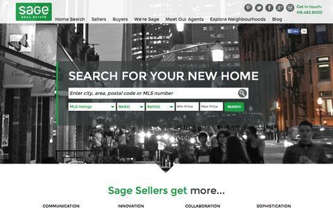 Screenshot of Home Page sagerealestate.ca - Toronto Real Estate | Call Sage Real Estate to Find Toronto Homes for Sale - captured Sept. 26, 2014