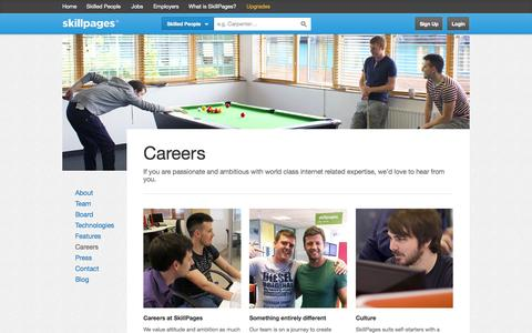 Screenshot of Jobs Page skillpages.com - Careers – SkillPages - captured Sept. 17, 2014