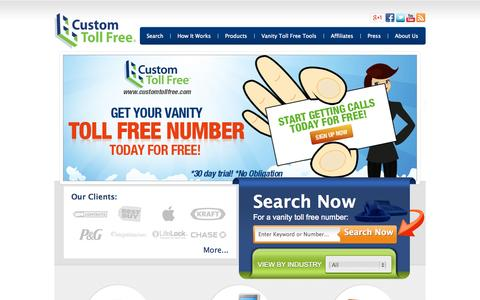 Screenshot of Home Page customtollfree.com - Best Vanity Numbers & Toll Free Numbers from Custom Toll Free - captured Sept. 19, 2014