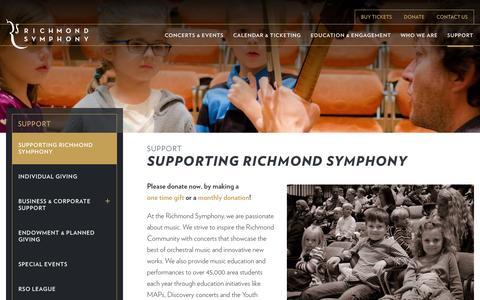 Screenshot of Support Page richmondsymphony.com - Supporting Richmond Symphony - Richmond Symphony - captured Feb. 17, 2016