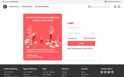 Screenshot of Login Page notionpress.com - Publish your book | Login to your Notion Press account now - captured July 20, 2019