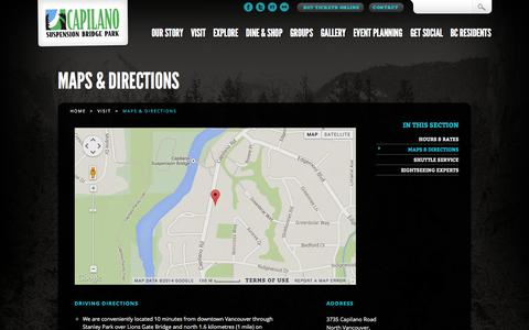 Screenshot of Maps & Directions Page capbridge.com - Maps & Directions   Capilano Suspension Bridge Park - captured Sept. 19, 2014