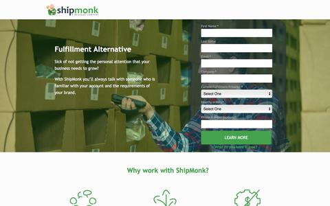 Screenshot of Landing Page shipmonk.com - Fulfillment Alternative | No Setup Fees or Order Minimums - captured Dec. 22, 2016