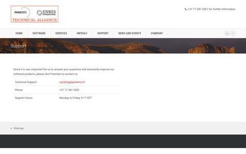Screenshot of Support Page enresinternational.com - Support  »  ENRES International - captured Nov. 4, 2018