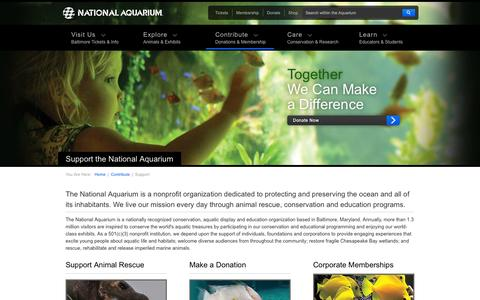 Screenshot of Support Page aqua.org - National Aquarium | Support the National Aquarium - captured Oct. 27, 2014