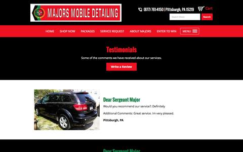 Screenshot of Testimonials Page majorsmobile.com captured Nov. 19, 2016