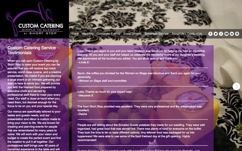 Screenshot of Testimonials Page shortstopcustomcatering.com - Testimonials - Custom Catering - captured Oct. 3, 2014