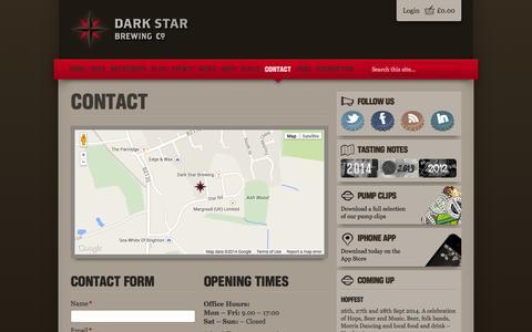 Screenshot of Contact Page darkstarbrewing.co.uk - Contact | Dark Star Brewing Co - captured Oct. 5, 2014