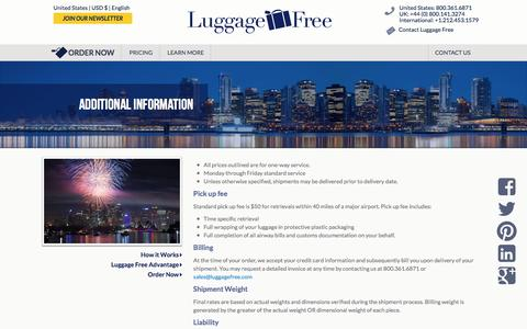 Screenshot of Pricing Page luggagefree.com - Additional Information - Luggage Shipping - Ship Luggage - Luggage Free - captured Jan. 27, 2017