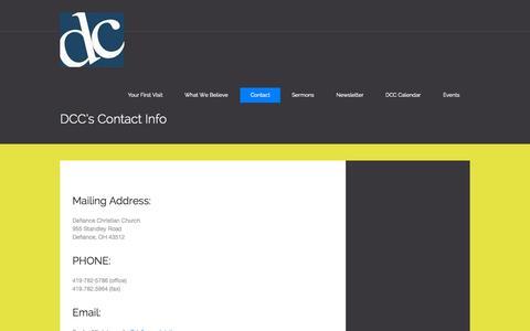 Screenshot of defiancechristian.org - DCC's Contact Info | DCC (Defiance Christian Church) - captured Oct. 3, 2015