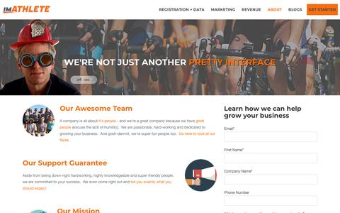 Screenshot of About Page imathlete.com - imATHLETE - about us and our employees - captured Sept. 20, 2018