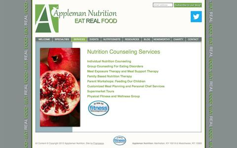 Screenshot of Services Page applemannutrition.com - Appleman Nutrition | Individual and Group Nutritional Counseling, Meal Planning, Chef Services, Supermarket Tours, Workshops and Wellness Groups - captured Sept. 30, 2014