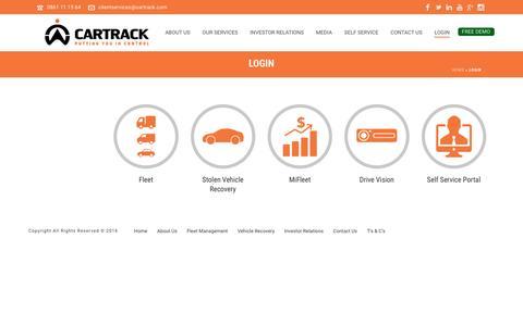Screenshot of Login Page cartrack.co.za - Login - Cartrack - captured May 15, 2017
