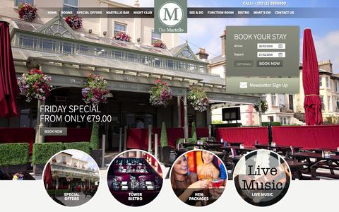 Screenshot of Home Page themartello.ie - Hotels in Bray - Wicklow Hotel | Martello Hotel - captured Feb. 25, 2016