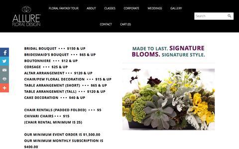 Screenshot of Pricing Page allurefloraldesign.com - Price List - Allure Floral Design Chicago Floral Design Firm and floral design classes - captured Oct. 4, 2014
