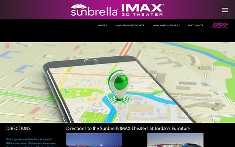 Screenshot of Maps & Directions Page jordans.com - Directions to the Sunbrella IMAX 3D Theaters at Jordan's Furniture stores in Natick and Reading MA - captured April 19, 2018
