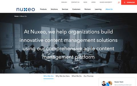 Screenshot of About Page nuxeo.com - About Us - Nuxeo - captured Oct. 21, 2015