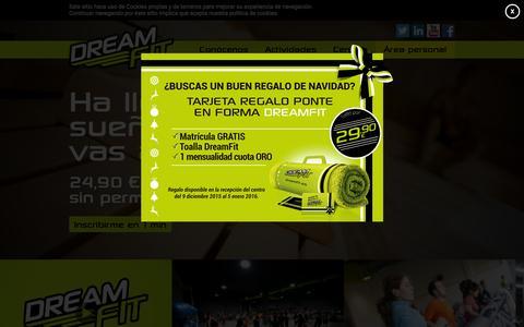 Screenshot of Home Page dreamfit.es - Gimnasios low cost sin permanencia en Alicante, Madrid, Zaragoza y Castell�n | DreamFit - captured Jan. 7, 2016