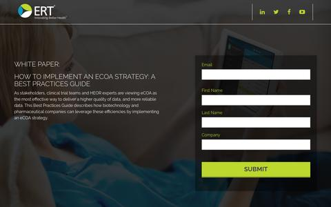Screenshot of Landing Page ert.com - How to Implement an eCOA Strategy: A Best Practices Guide | ERT - captured Aug. 21, 2016