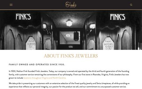 Screenshot of About Page finks.com - About Fink's Jewelers — Fink's Jewelers | Jewelry Stores In Virginia, North Carolina, & Maryland - captured Oct. 3, 2018