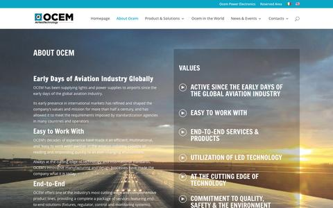 Screenshot of About Page ocem.com - About Ocem - Ocem Airfield Lighting Technology - captured Dec. 6, 2016